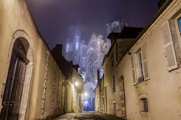 The historic Cathedral Saint-Étienne in Bourges, Département Cher, France. Bourges in a foggy night with lights.