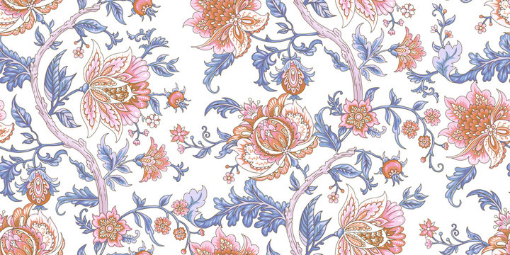 Seamless vector vintage pattern with baroque flowers