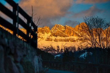 Poster Cappuccino Winter landscape in Dolomites Mountains, Italy