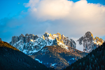 Tuinposter Nachtblauw Winter landscape in Dolomites Mountains, Italy