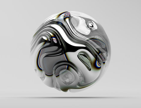 3d render of abstract art with surreal 3d ball in organic curve round wavy smooth and soft bio forms in glossy silver metal material with color round lines spectrum and with glass parts on light grey