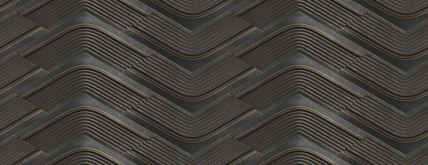 3D Wallpaper in the form of black relief modules with golden scuffs on the edges. High quality seamless realistic texture.