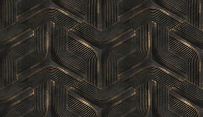 3D interior wallpaper in the form of black futuristic relief modules with golden scuffs on the edges. High quality seamless realistic texture.