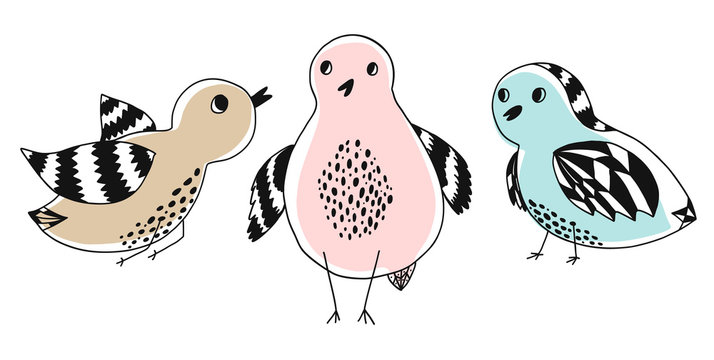 Collection of cute doodle hand drawn color birds. Set of cartoon black outline bird with colorful stains for kids print design, textile decoration, greeting cards, print, stickers, logo