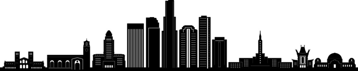 Fototapete - Los Angeles Skyline Silhouette Cityscape Vector