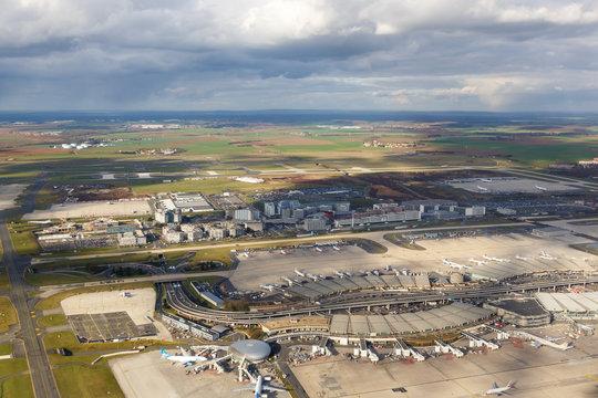 Paris Charles de Gaulle (CDG) airport aerial photo