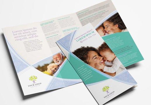 Trifold Brochure Layout with Swash Elements