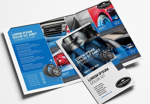 Trifold Brochure Layout for Car Wash and Detailing Services