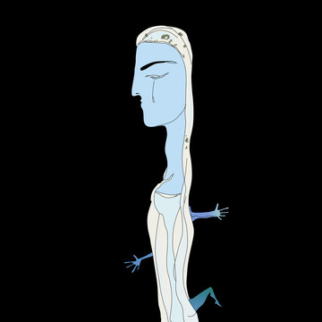 Isolated vector illustration. Fantastic blue lady with closed eyes. Surreal art. Hand drawn sketch.