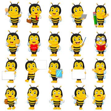 Cute bee cartoon mascot pack