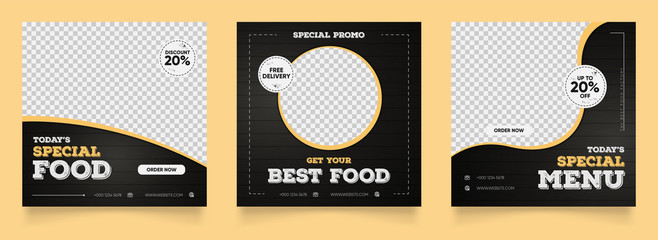 social media instagram post template for food promotion simple banner frame