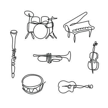 One line musical instruments design - Hand drawn minimalism style vector illustration.