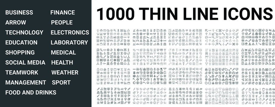 Big set of 1000 thin line icon. Business, finance, technology,sport, medical, health, people, teamwork, arrows, electronics, social media, education, shopping, weather, management, laboratory, ui pack