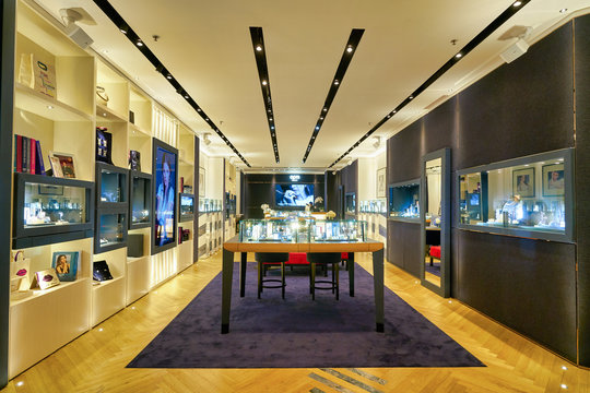 HONG KONG, CHINA - JANUARY 23, 2019: interior shot of APM Monaco store at New Town Plaza shopping mall in Sha Tin. APM Monaco is a fashion jewelry company.