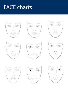 Beautiful woman faces charts