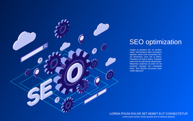 SEO optimization process, information processing, web search flat isometric vector concept illustration