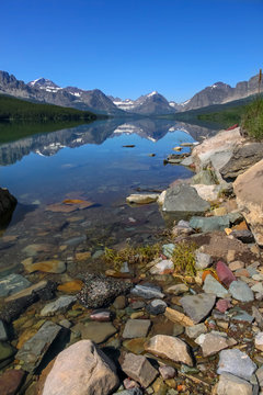 Scenic landscape of Many Glaciers in Glacier national park