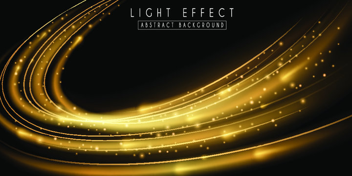 Abstract light effect. Futuristic gold wave illustration.  Festive sparkling background