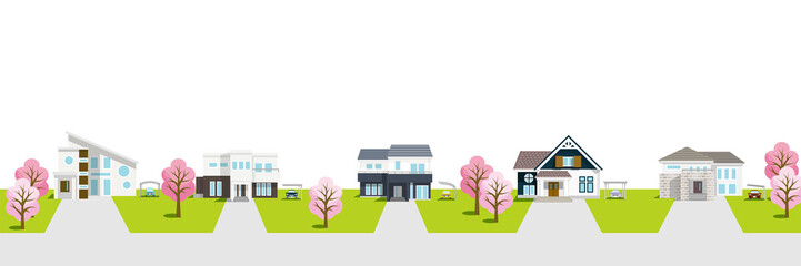 Residential area townscape with cherry trees ,white background