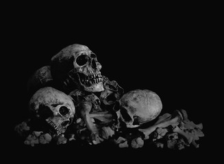 Genocide, Pile of Skulls in Black background