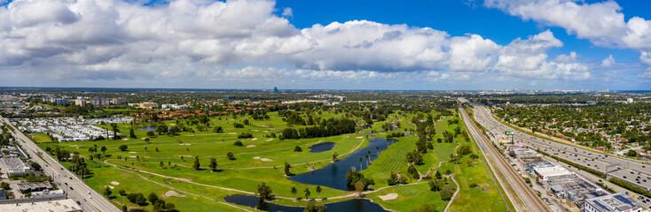 Orangebrook Golf and Country Club Hollywood FL aerial panoramic photo