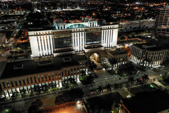 Palm Beach County Courthouse aerial night photo