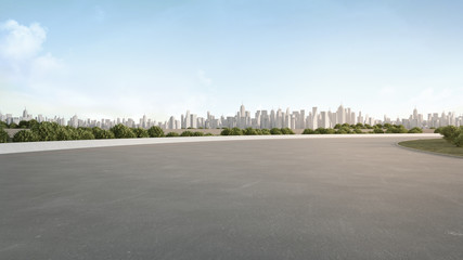 Empty concrete floor in city park. 3d rendering of outdoor space and architecture with blue sky background.