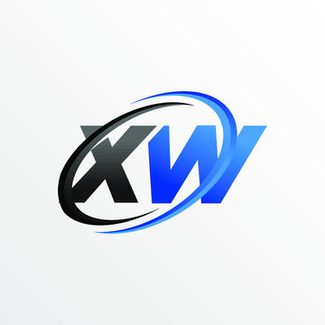 Initial Letters XW Logo with Circle Swoosh Element