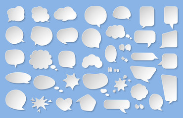 Comic paper cut speech bubble set. Empty text box cloud. Abstract icon different shapes blank doodle bubbles. 3D effect comics message balloon template. Isolated on blue background vector illustration
