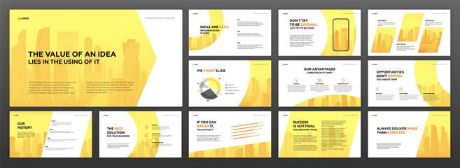 Business powerpoint presentation templates set. Use for keynote presentation background, brochure design, website slider, corporate report. Wall mural