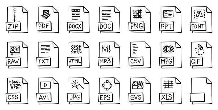 Icons for popular file and document formats. File label sketch. Cartoon hand drawn vector white and black outline line.