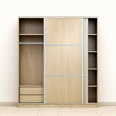 Empty wood wardrobe