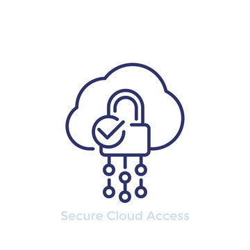 Secure cloud access, protected hosting line icon