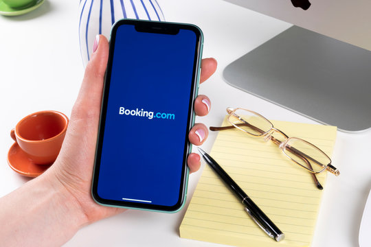Helsinki, Finland, January 30, 2020: Booking.com application icon on Apple iPhone X screen close-up. Booking app icon. Booking.com. Social media app. Social network