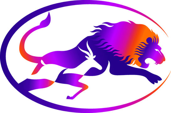 lion and deer chasing logo