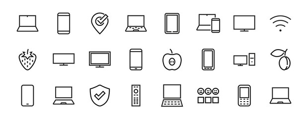 set of smart devices and gadgets, computer hardware and electronics. Electronic device icons for web and mobile vector lines. Editable stroke. 480x480 pixels