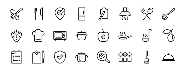 Set of cooking and kitchen icons, Vector lines, contains icons such as frying pan, frying, microwave, fork with spoon, Editable stroke, perfect 480x480 pixels, white background.