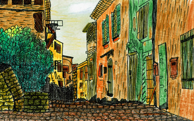 Historical Alley in France, Hand Drawn Illustration