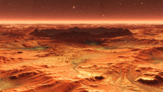 Mars Planet Surface With Dust Blowing. 3d illustration