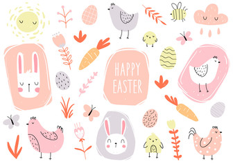 Vector color hand-drawn children's cute easter set with hens, bunny, easter eggs carrots, butterfly and flowers in scandinavian style on a white background. Easter set. Spring. Happy easter.