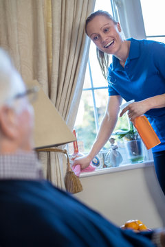 Female Home Help Cleaning House For Senior Man