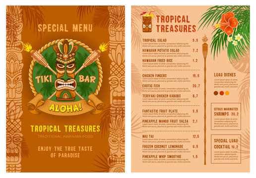 Template For Menu Of Tiki Bar Or Club