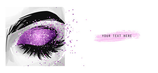 Closed eye with purple glitter eyeshadow. Fashion poster for beauty salon