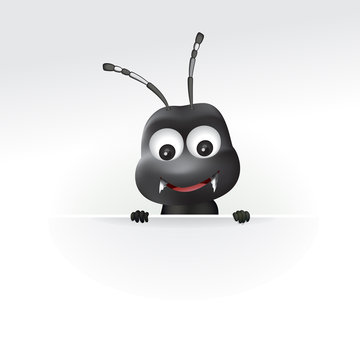 Vector illustration of black ant cartoon with blank sign.
