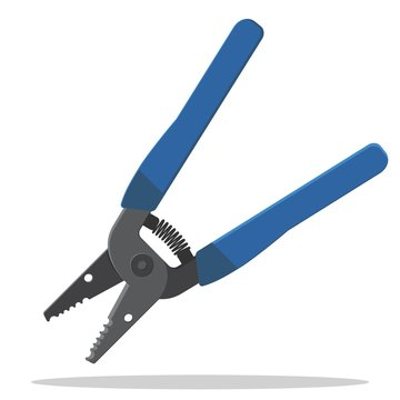Precise wire stripper hand tool. Wire cutter, cable crimper, spring loaded with rubber coating.Flat style vector illustration.