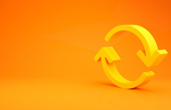 Yellow Refresh icon isolated on orange background. Reload symbol. Rotation arrows in a circle sign. Minimalism concept. 3d illustration 3D render