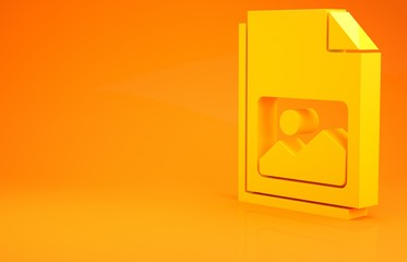 Canvas Prints Honey Yellow Picture landscape icon isolated on orange background. Minimalism concept. 3d illustration 3D render