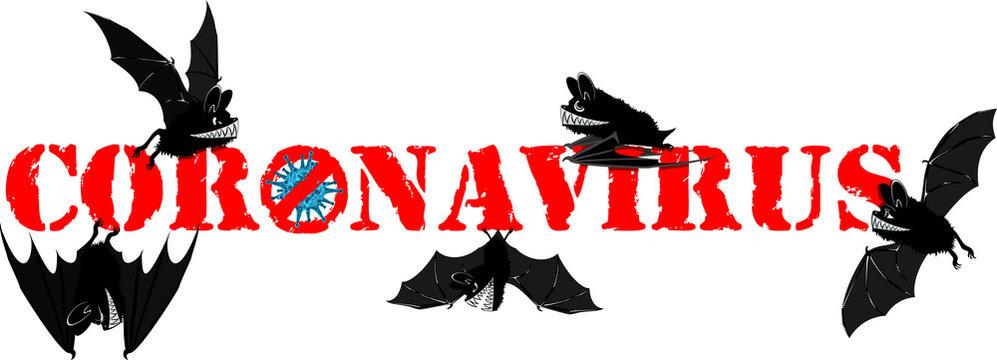 Vector Cute Cartoon Vampire bats with coronavirus 2019-nCoV, Wuhan virus MERS-Cov