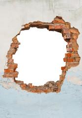 Fototapeta Broken hole in an old brick wall obraz