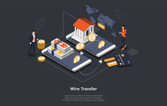 Concept Of Isometric Wire Transfer. Tiny Characters At Huge Smartphones. People Are Paying By Wire Transfers For Goods Or Services. Customers Are Paying Online Mobile App. Cartoon Vector Illustration
